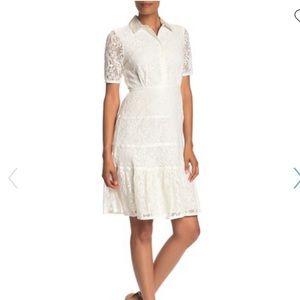 Nanette Lepore white lace dress.